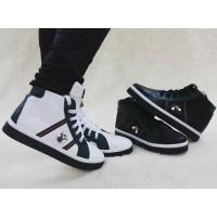 Ботинки-кеды Gucci женские демисезонные кожаные белые/черные Uk0101