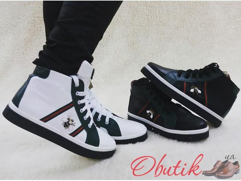 Ботинки-кеды Gucci женские демисезонные кожаные белые черные Uk0101 741ec713313