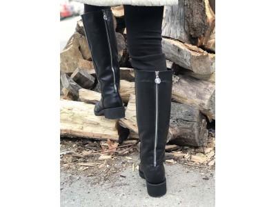 Сапоги-труба зимние осенние женские кожа черные Uk0569