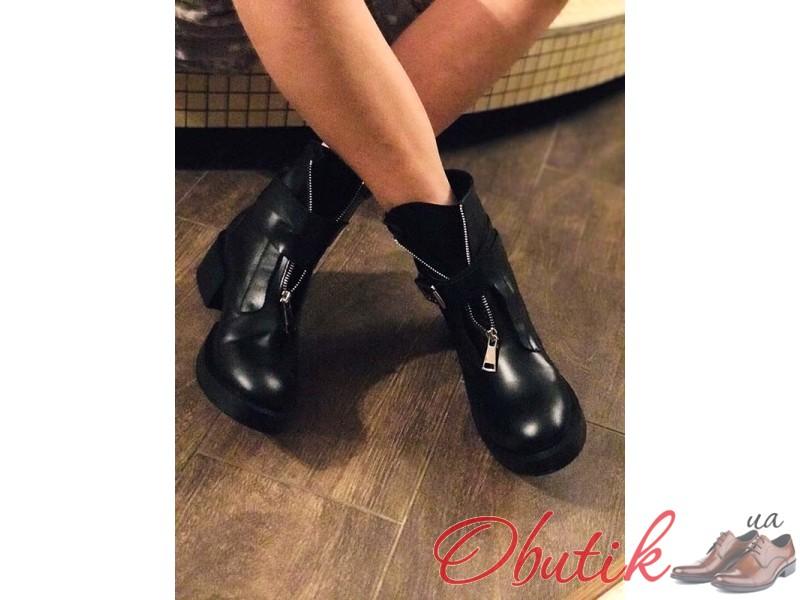 d151cbbeb Obutik - Стильные женские ботинки зимние демисезонные кожа черные ...