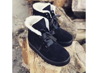 Замшевые ботинки женские на шнурках зимние черные Uk0560