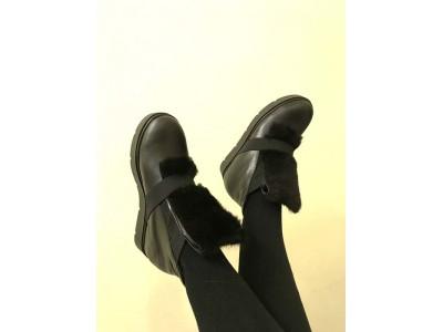 Кожаные ботинки женские зимние осенние черные Uk0562