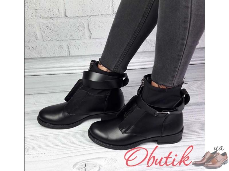 534f8519a Obutik - Ботинки женские на пряжках демисезонные кожаные черные ...