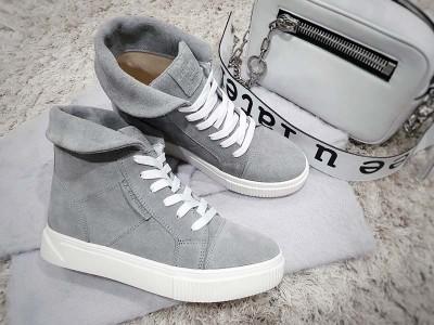 Женские ботинки на шнурках демисезонные кожа замша Uk0574