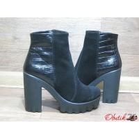 Ботинки женские VOG на каблуке демисезонные зимние кожа замша Vog0004