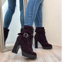Женские ботинки AVK осень-весна/зима на каблуке замша/кожа цвета разные AV0078