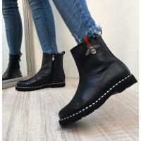 Женские ботинки AVK осень-весна/зима кожаные черные AV0084