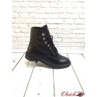 Ботинки женские демисезонные высокие кожаные замшевые черные Uk0411