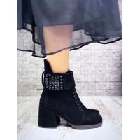 Ботинки женские на каблуке осень-весна замшевые черные NK4140