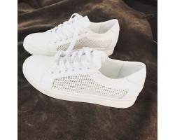 Белые кожаные кеды женские SZ0010