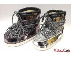 Женские дутики-сапоги Луноходы Мунбутс Moon Boot низкие серебро бронза золото MB0003