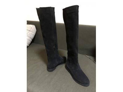 Женские зимние осенние высокие сапоги замша черные Uk0566