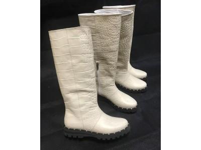 Женские сапоги осень зима итальянская кожа белые Uk0545