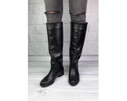 Сапоги женские  еврозима кожаные черные Ko0080