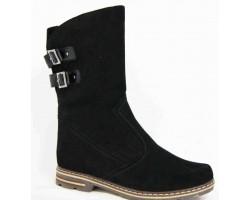 Женские сапоги зимние замшевые кожаные черные BR0011