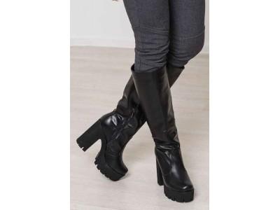 Сапоги женские на каблуке кожа/замша осень-весна/зима черный/марсала BM0004