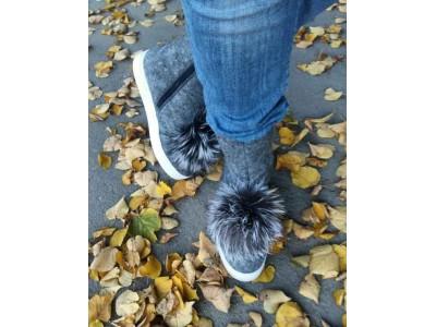Сапоги женские зимние валяная шерсть меховые помпоны серые BM0005