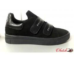 Женские слипоны Philipp Plein кожаные замшевые черные Uk0480