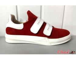 Женские слипоны Philipp Plein кожаные замшевые красные черные Uk0481