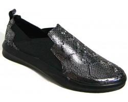 Слипоны женские кожаные 36-44 размеры серебристые MD0017
