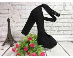Женские туфли на каблуке черные бежевые KF0533