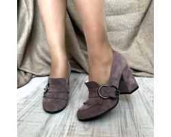 Женские туфли AVK на каблуке кожа замша AV0115
