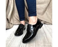 Женские туфли AVK лаковая кожа черные серые AV0116
