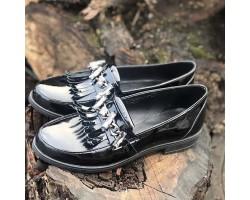 Женские туфли лаковая кожа черные ZS0019