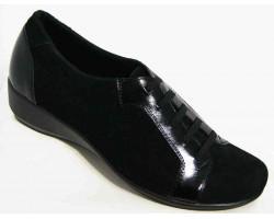 Туфли женские кожа и замша 36-44 размеры черные MD0023