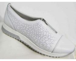 Туфли женские кожа большие размеры белый синий MD0029