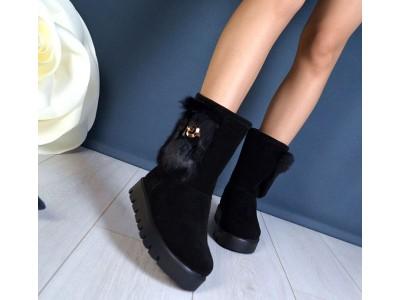 Угги женские зимние Fashion кожаные черные/никель TOPs1189