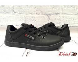 Туфли подростковые Ecco на шнурках кожаные черные E0049