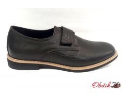 Подростковые туфли кожа рептилии на липучке темно-коричневые,черные Uk0475