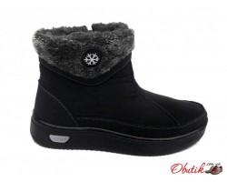 Сапоги-ботинки дутики женские зимние черные KF0484