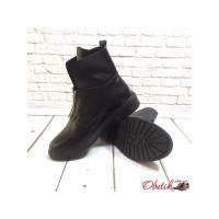 Ботинки женские высокие на змейке кожа/замша черные Uk0174