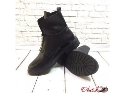 Ботинки женские стильные на змейке кожа/замша черные Uk0174