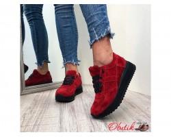 Кроссовки женские AVK замшевые красные/синие AV0062