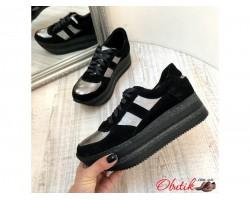 Кроссовки женские AVK замшевые черные с серебром AV0065