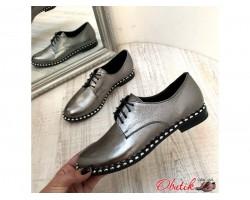 Женские туфли AVK демисезонные на шнурках кожа черные/серебро AV0069