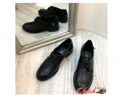 Женские туфли AVK демисезонные на шнурках кожа черные/серебристые AV0070
