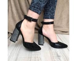 Женские туфли на каблуке из кожи и замши черные синие AV0014