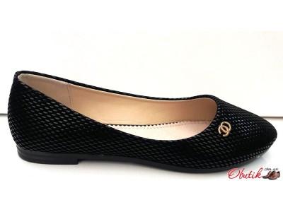 Балетки Chanel с узором черные KF0244