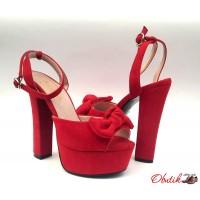 Босоножки женские на высоком каблуке красные KF0451