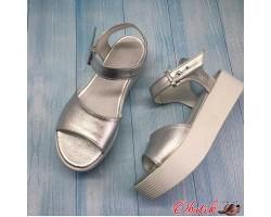 Босоножки женские Allure на платформе кожа серебро AL0095