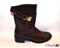 Ботинки женские высокие осенние Украина кожа черные коричневые Uk0048