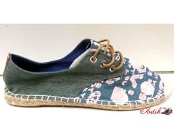 Эспадрильи женские джинсовые с принтом на шнурках KF0290