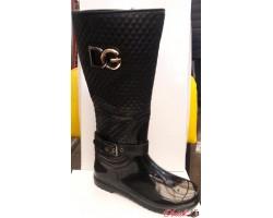 Женские стильные резиновые сапоги высокие Dolce Gabbana черные RS0008