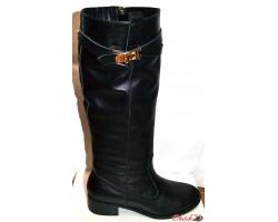 Сапоги высокие женские зимние кожаные чёрные Hermes Oog0036