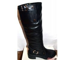 Сапоги высокие женские зимние чёрные кожаные с ремешками Oog0037