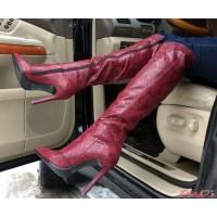 Ботфорты женские демисезонные зимние кожаные цвет марсала AV0009